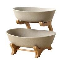 Zwei Tiers Matt Keramische Portion Schüssel Dekorative Keramik Teller Bambus Geschirr Mittelpunkt Für Obst  Salat Und Snac|Regale & Gestelle|   -