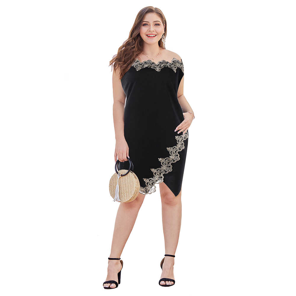 Lortalen Summer Women Dresses Plus Size 5XL Flower Embroidered Trim Bodycon Dress Robe Office Ladie Boat Neck Sleeveless Vestido
