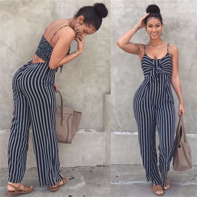 2019 Elegant Striped Sexy Spaghetti Strap Rompers Women Sets Sleeveless Backless Bow Casual Wide Legs Jumpsuits Leotard Overal 1