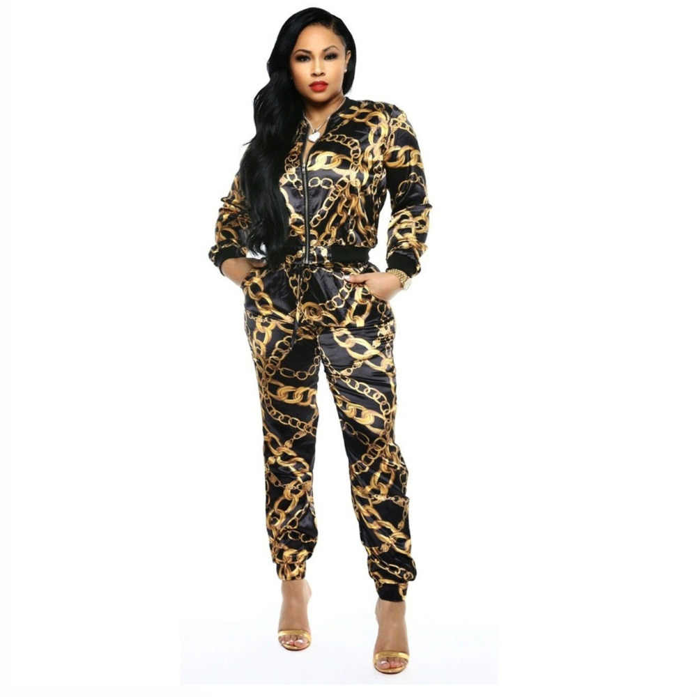 49d6221e16242c 2019 New Women Chain Printed Zip Up Turn Down Neck Jackets Pencil Long  Pants Suits Two