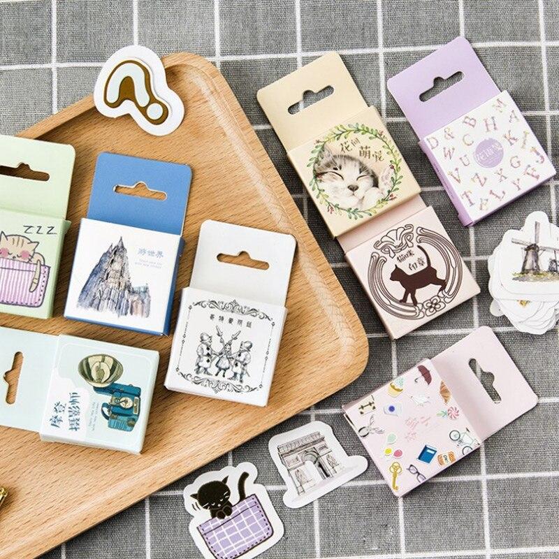 45pc Cute cat animal sticker travel photographer photo album Scrapbook decor sticker diy Handmade gift cards stickers Arts Craft