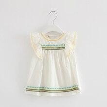 2018 Летнее детское платье хлопковые детские платья девушки оборками одежда для малышей Одежда для девочек белый От 0 до 2 лет