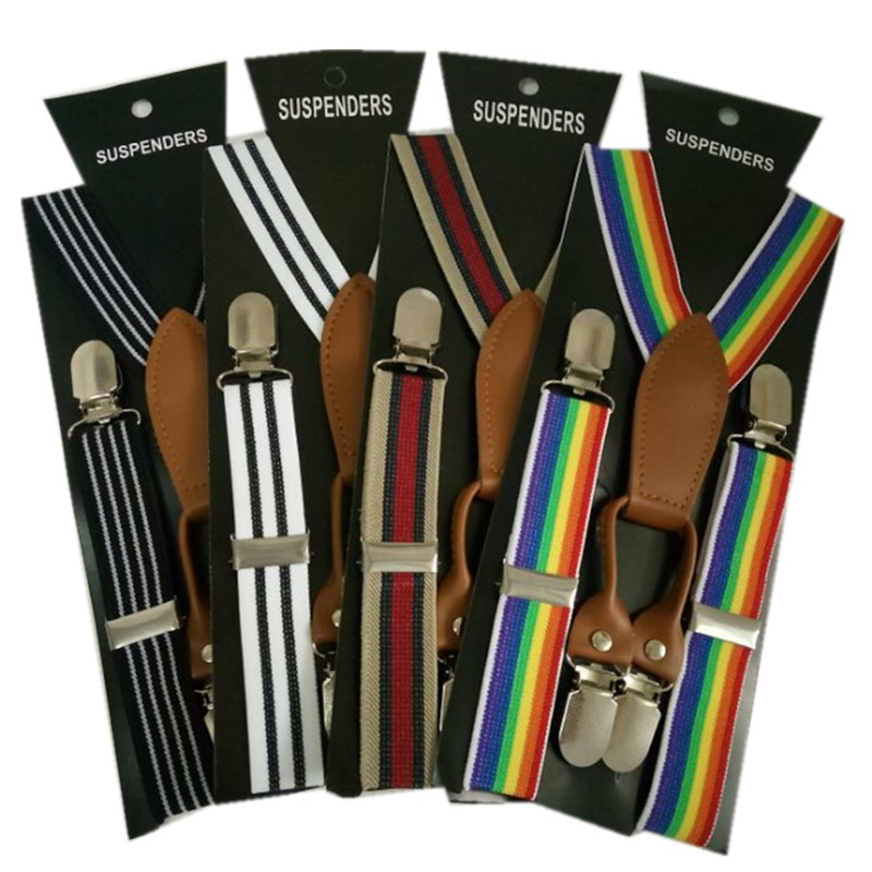 BD048-S Fashion Kids Striped Suspenders High Quality Leather 4 Clips-on Braces For 2-8 Years Children Christmas Gift