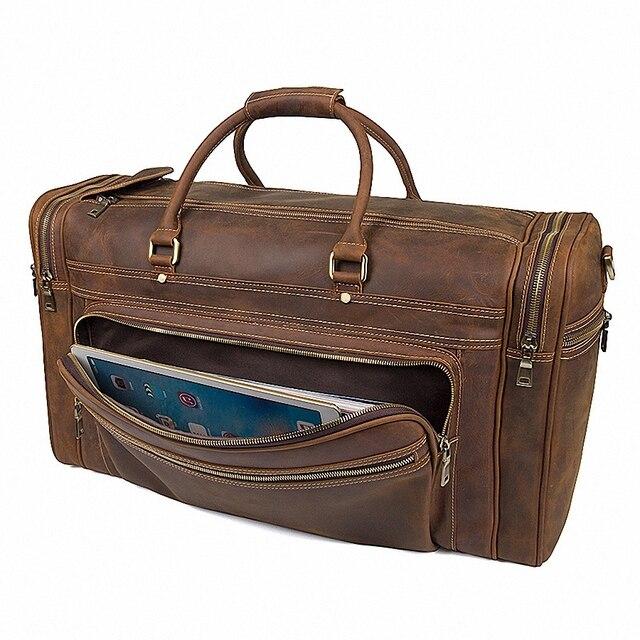 Big Capacity Genuine Leather Travel Bag Durable Crazy Horse Leather Travel Duffle Real Leather Large Shoulder Weekend Bag LI2084 4