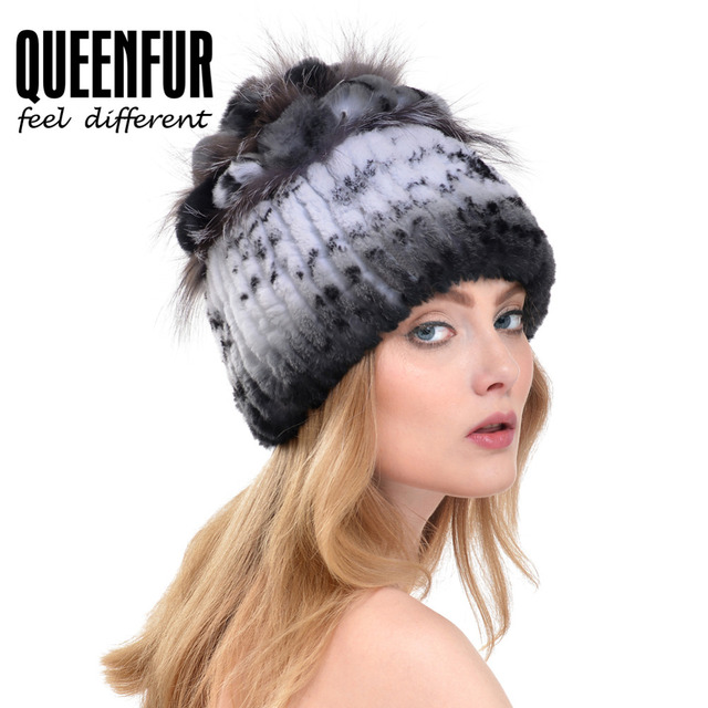 QUEENFUR Real Knitted Rex Rabbit Fur Hat With Silver Fox Fur Flower Stripe Beanies Women Winter Thick Natural Rabbit Fur Cap Hat