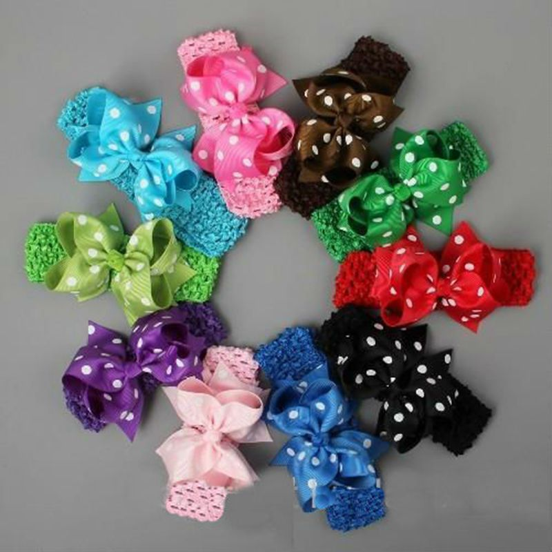 10Pcs/lot Crochet Bowknot Headband 4 Polka Dots Elastic Hair Holders Girls Hair Ties Hai ...