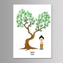Новое поступление, в юго-восточном стиле, 50*70 см, дерево с отпечатками пальцев, холст, живопись для детей, детская вечеринка на день рождения, приветствовать гостя, книга с чернилами