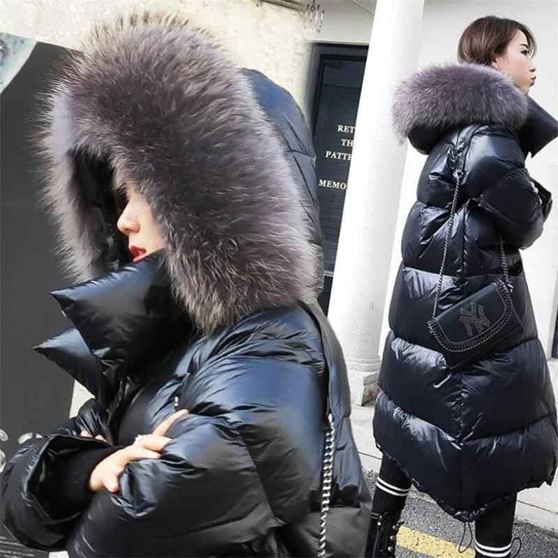 Nieuwe 2019 Witte Eendendons Winter Jassen Vrouwen Warm Real Fox bontkraag Hooded Winter Jas Vrouwelijke Lange Donsjack warme Parka