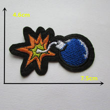 Cartoon characters blue bomb t hot melt adhesive dress applique embroidery patches stripes DIY clothes shoes accessories C334(China)