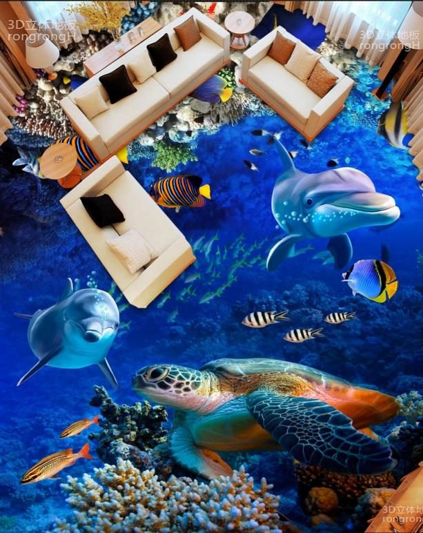 Customized 3d flooring Dolphins Turtles Self adhesive Wallpaper 3D Floor tiles 3D Wallpaper Living room free shipping marble texture parquet flooring 3d floor home decoration self adhesive mural baby room bedroom wallpaper mural