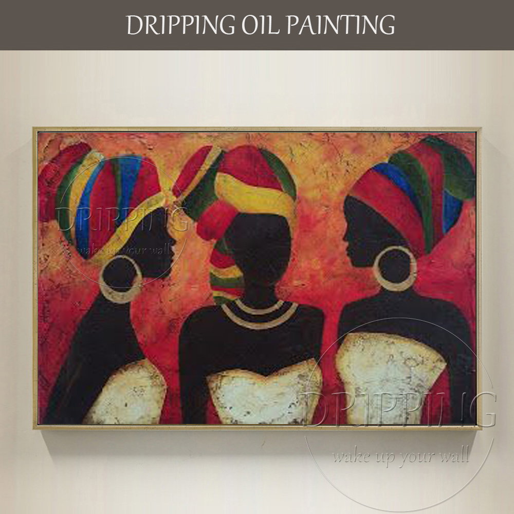 Top Artista dipinto A mano Donna Africana Olio su Tela Donna Africana Ritratti Pittura A Olio Donna con Olio Sciarpa pittura