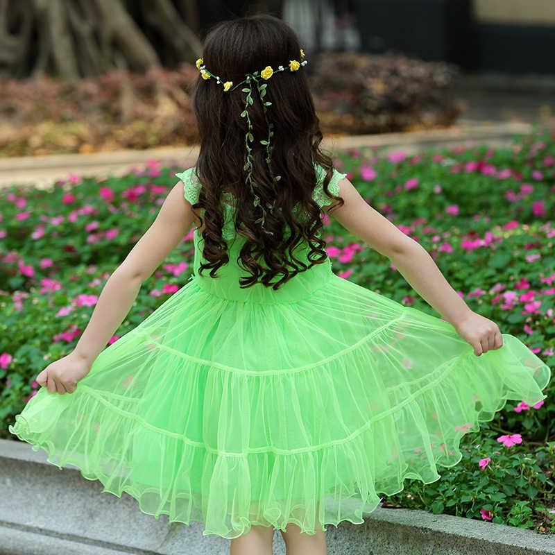 4-14 yrs תינוק בנות קיץ לבן תחרה 3D פרחוני שמלת 2019 קוריאני קצר שרוול נסיכת חתונה מסיבת יום הולדת ערב נשף שמלה