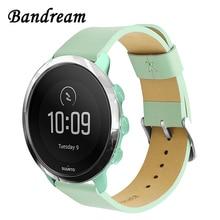 Bracelet de montre en cuir véritable pour Suunto 3 Fitness Bracelet de montre intelligente Bracelet de libération rapide Bracelet de poignet en acier inoxydable fermoir