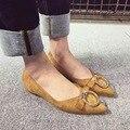 Negro marrón de oro hebilla de metal en punta plana zapatos altura creciente zapatos de las mujeres con arco resbalón en los zapatos para las mujeres femme soulier