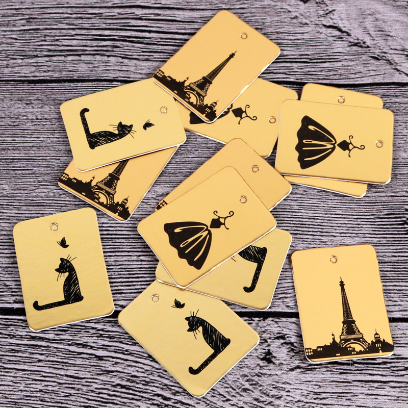 100pcs 3x4cm Gold Print Cat/Tower/Skirt Paper Card / Gift Tag / DIY Tag / Luggage Tag / Price Label Accept Custom LOGO & Size