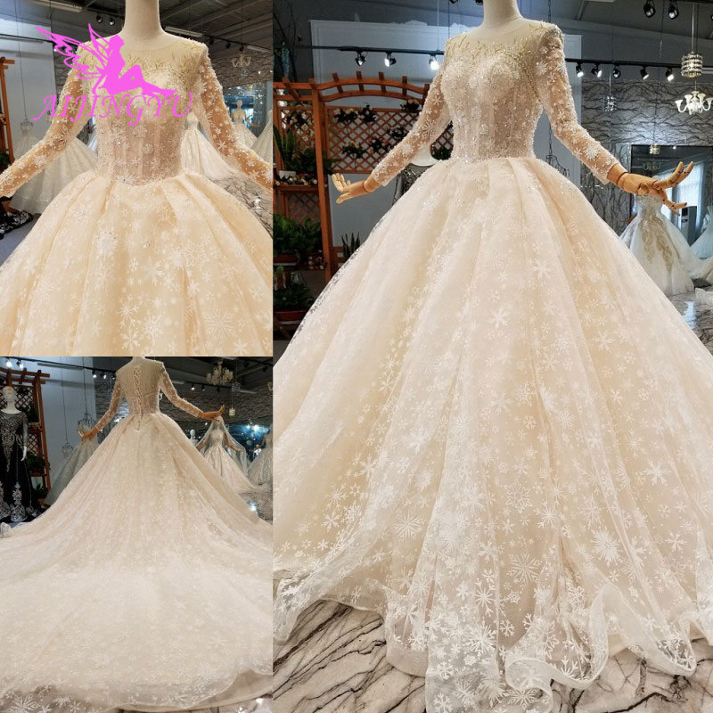 AIJINGYU Modern Wedding Dress Gowns Underskirt Summer Romantic Sexy Lace 2019 Marriage Vintage Brush Bridal Wedding DressesWedding Dresses   -