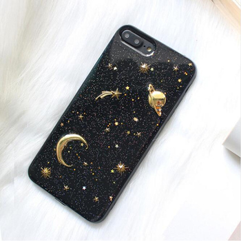 Moon Stars Phone Case 7 Plus Bling Glitter Universe Series Cover Cases