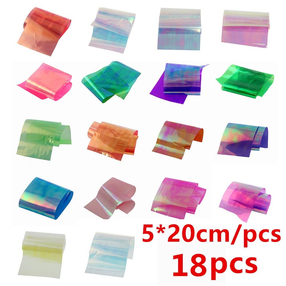 1Lot 18pcs/Colors Nail Art Latest Holographic Glass Nail Foils Shiny Laser Foils Transfer Candy Color Nail Sticker