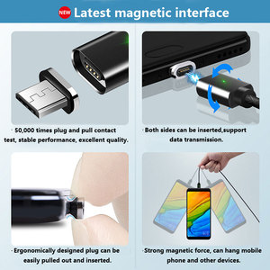 Image 5 - Three in One Magnetic Sucker Data Cable Type C Application Apple Android Woven Charging Magnetic Cable with Emitting Indicator