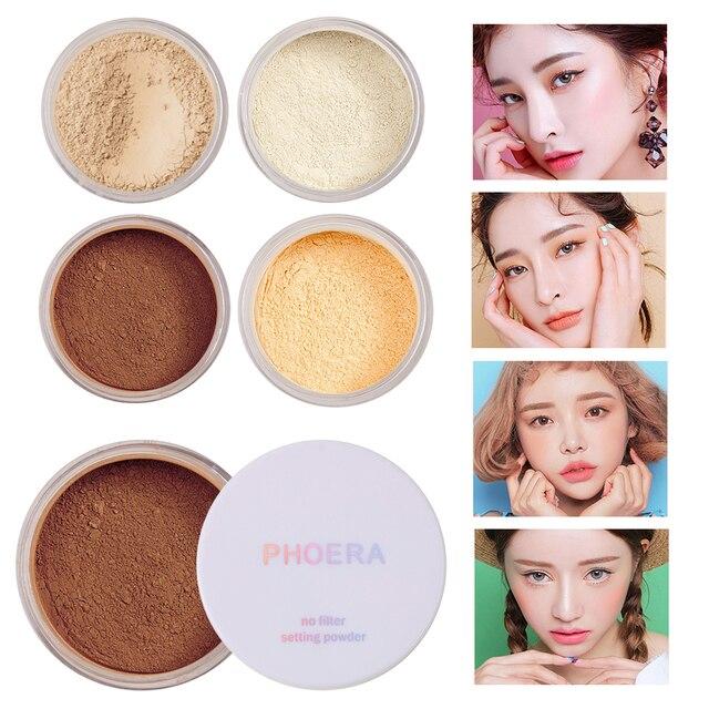 PHOERA nuevo 4 colores mate Control de aceite maquillaje polvo blanqueamiento Facial brillo piel polvo corrector reparación polvo suelto TSLM1