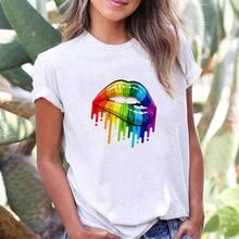 Unisex T-Shirts Lesbian Rainbow-Design Love Short-Sleeve Tops Summer Print Casual Lip
