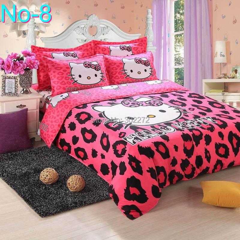 Cotton Bedding Sets Cartoon Hello Kitty 4pcs Bed Set Duvet Cover Bed