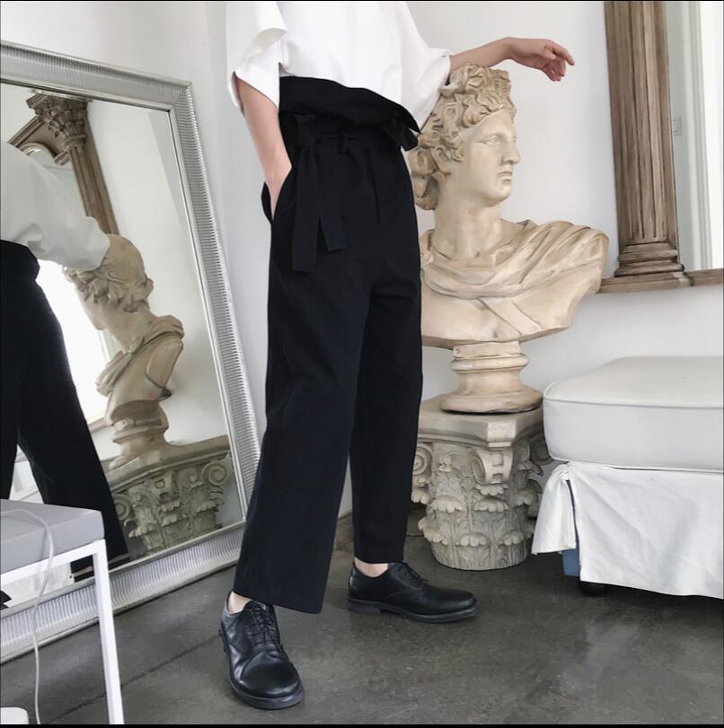 Casuales De Nueva 5xl Estilista Delgados Cintura Nueve Plisado Rectos Negro Diseño Puntos Jóvenes Harén Personalidad Alta M Pantalones RXP15nqq