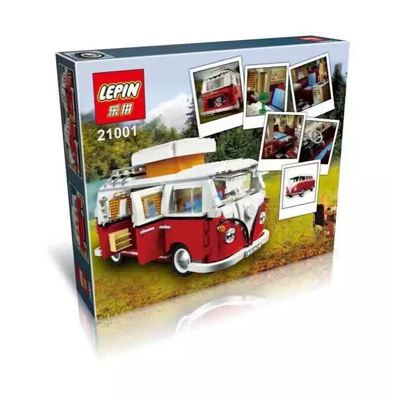 Lepin 21001 Creator series the Volkswagen T1 Camper Van Model Building Blocks classic Compatible legoed 10220 Technic car Toys 2016 new lepin 21005 creator series the emerald night model building blocks set classic compatible legoed steam trains toys