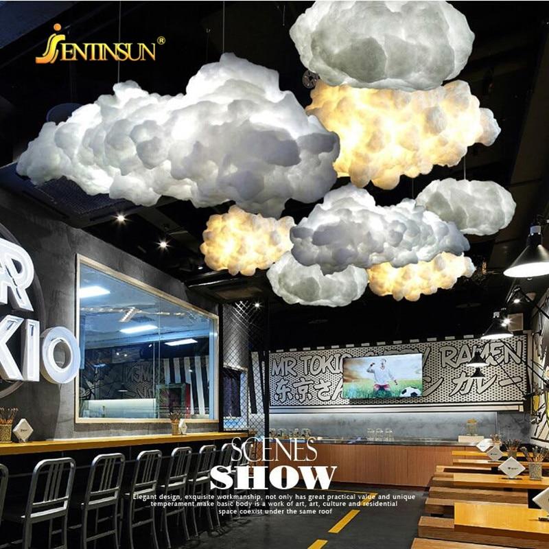 все цены на 35cm Floating White Cloud Pendant Light Home Decorative Creative LED Silk Cloud Lighting Hanging Lamp for Hotel Lobby Restaurant онлайн