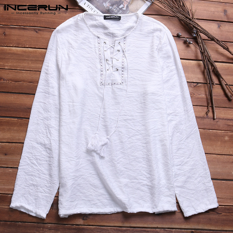 Nepal  Beach Retro Men's Shirts Cotton Long Sleeve Lace Up Print Neck Spring Autumn Casual Loose Men Tops Camisa Masculina
