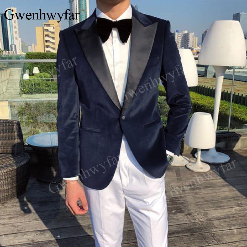 Abiti color Navy 2 Velluto Sposo Vestito Made Uomo Formale Del Slim Xw6gRxdqg