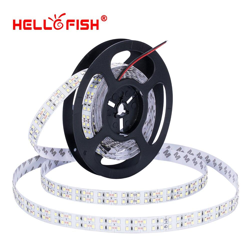 LED Strip 2835 1200 SMD High brightness 15mm Width 5m Double Row 12V Flexible LED tape White Warm White Hello Fish
