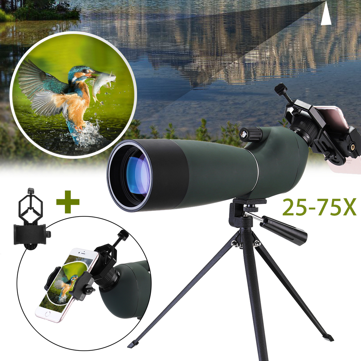 Spotting Scope BAK4 25 75x70 Zoom Monocular Telescope Waterproof Binoculars with Tripod Phone Holder for Birdwatch Hunting