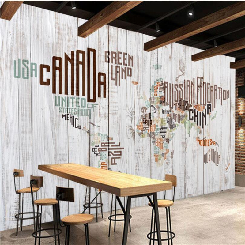 Beibehang Retro Vintage English Letters World Map Wood Mural Wall Custom Large Mural Green Wallpaper papel de parede para quarto in Wallpapers from Home Improvement