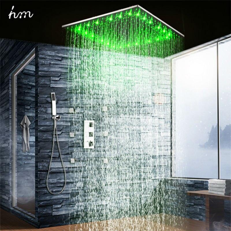 Hm 20 cabezal de ducha LED lluvia termostática ducha Set 6 masaje cuerpo chorros Panel empotrado techo 3 maneras ocultas - 2