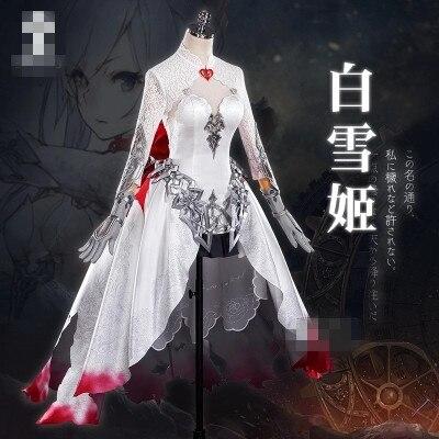 2017 Nouvelle Robe Anime Jeu SINoalice Japon serveur PÉCHÉ O ALICE Neige Neige Blanc kyi cosplay costume Livraison Gratuite