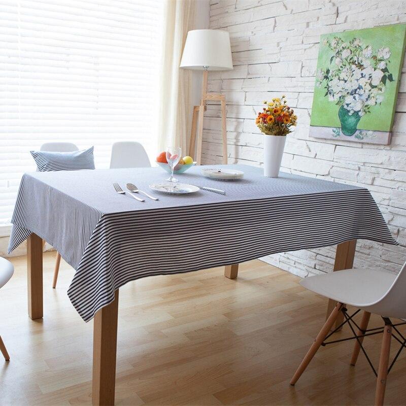 פשוט כחול פסים מפת שולחן מלבני פשתן כותנה Dustroof בד שולחן ספת טלוויזיה ריהוט רב תכליתי שולחן מכסה