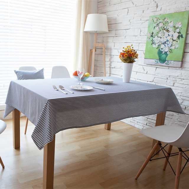 US $6.62 37% OFF|Simple Blue Striped Tablecloth Rectangular Linen Cotton  Dustroof Cloth for Table Sofa TV Furniture Multifunctional Table Covers -in  ...