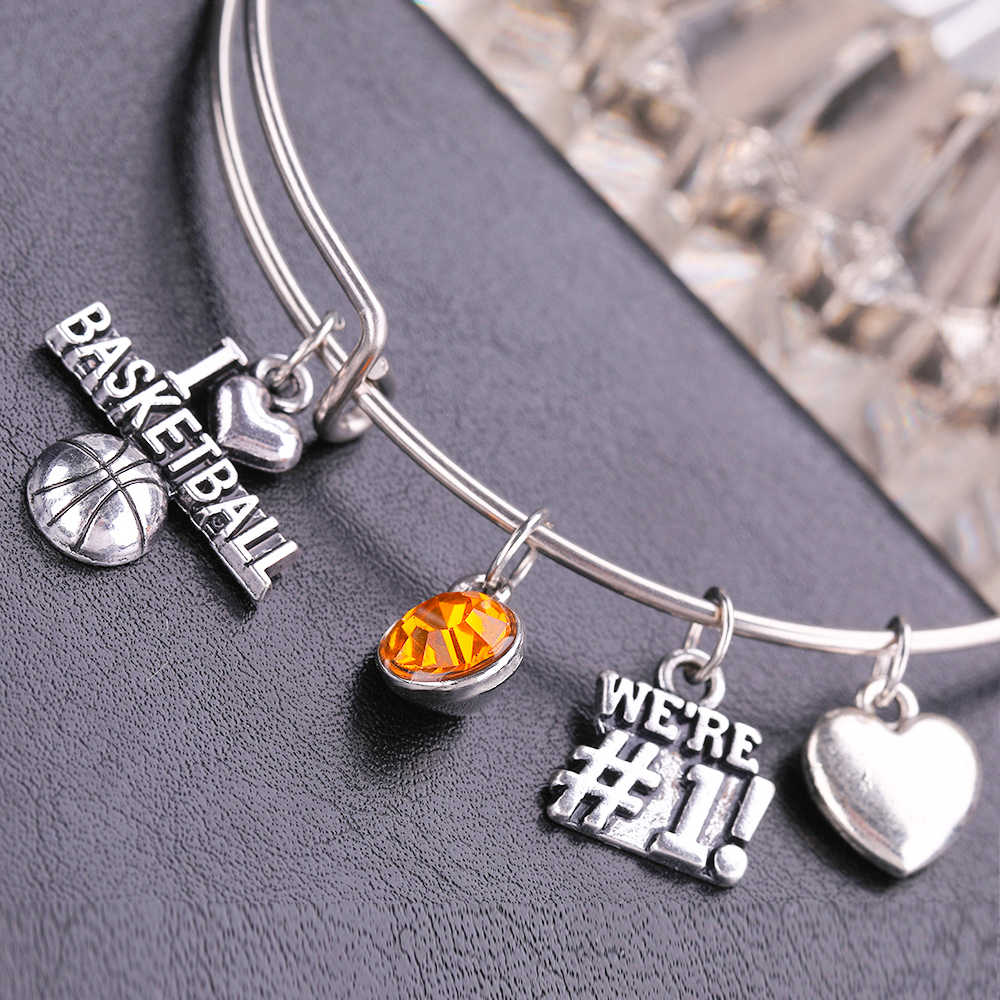Fishhook I love Basketball Sporty Charm Bracelet Stainless Steel Pendant Bangles Yellow Crystal Jewelry Bracelets for Men/Women