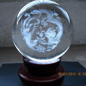 TOP COOL festival gift # efficacious HOME House FENG SHUI Talisman 3D Crystal CHINA Auspicious dragon Phoenix ball statue Model