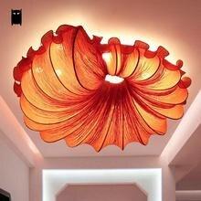 Rouge Orange café tissu fleur ombre plafonnier luminaire chinois romantique Art décoration Plafon lampe Lustre chambre Designer