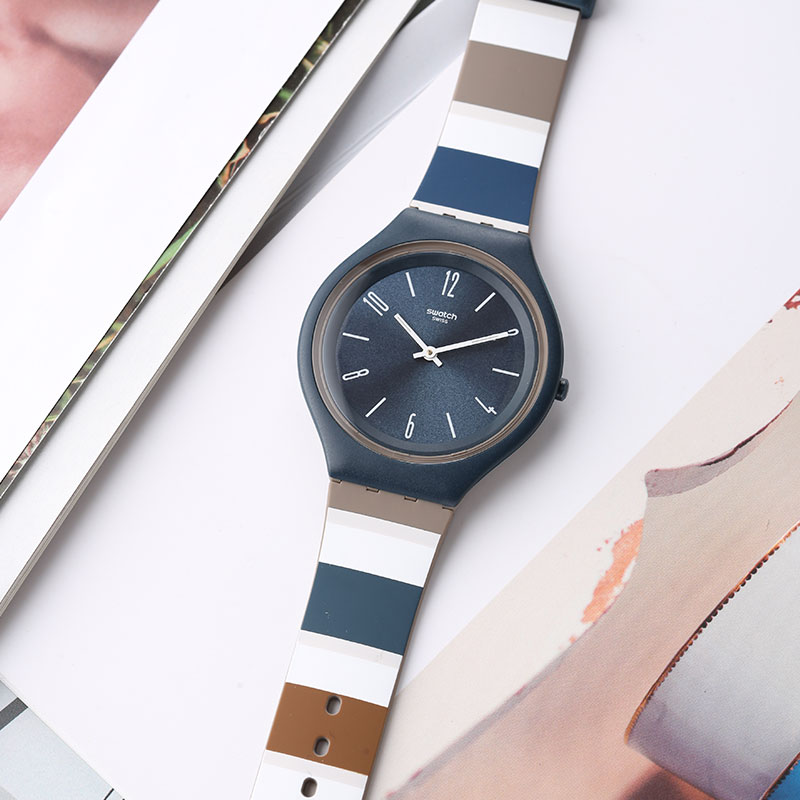 Swatch watches SKIN series of fashionable thin quartz men and women table SVUN103 цена и фото