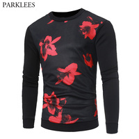 Red Flower Print Sweatshirt Men Women 2017 Autumn Winter 3D Men Sweatshirts O Neck Slim Fit