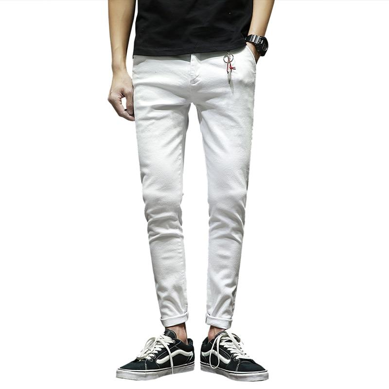 c995cf315ce Осенние белые джинсы мужские подростковые мужские эластичные джинсовые брюки  мужские s Slim Fit мужские брюки Размер