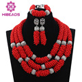 2017 African Red Beads Jewelry Set 2017 Red Beads Chain Chunky Indian Wedding Necklace Set Handmade Weave Crystal CollaresABL923