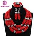 2017 Contas Cadeia Chunky Vermelho Africano Beads Jewelry Set 2017 Vermelho Conjunto de Colar De Casamento Indiano Handmade Weave Cristal CollaresABL923
