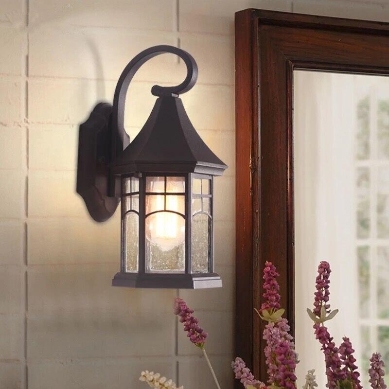 все цены на European Style Waterproof Retro Wall Lamp Villa Balcony Courtyard Corridor Light Sandblasting Black Wall Lamp Outdoor Lighting онлайн