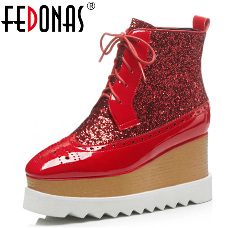 FEDONAS1Fashion Women Ankle Boots Autumn Winter Warm Patent Leather Wedges High Heels Shoes Woman Cross-tied Quality Shoes WomanFEDONAS1Fashion Women Ankle Boots Autumn Winter Warm Patent Leather Wedges High Heels Shoes Woman Cross-tied Quality Shoes Woman