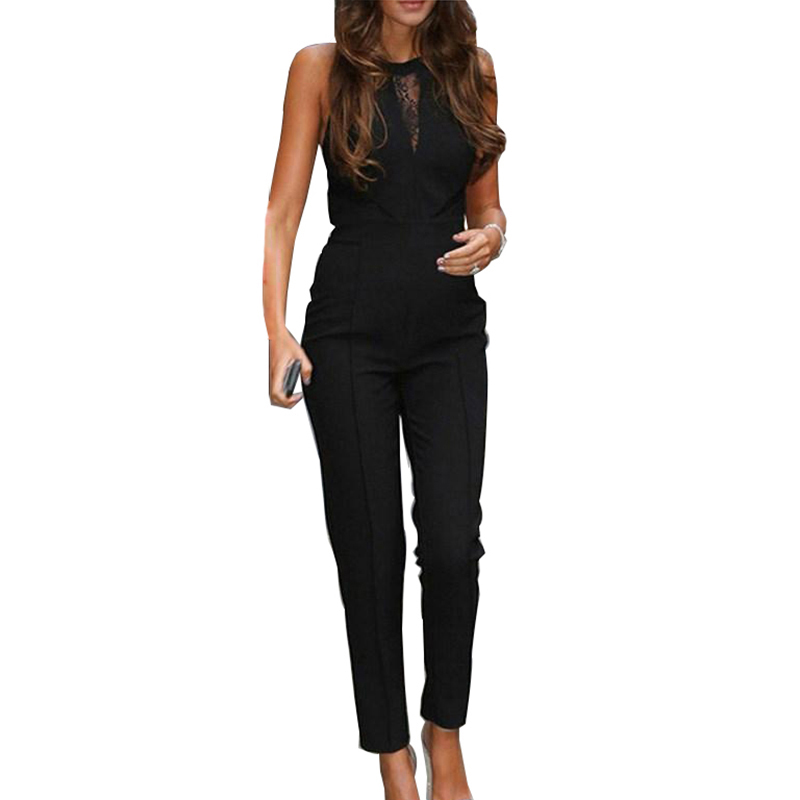 Summer Women elegant   Jumpsuit   Sexy Ladies Casual Patchwork Lace Sleeveless Long Trousers Overalls Black   Jumpsuit