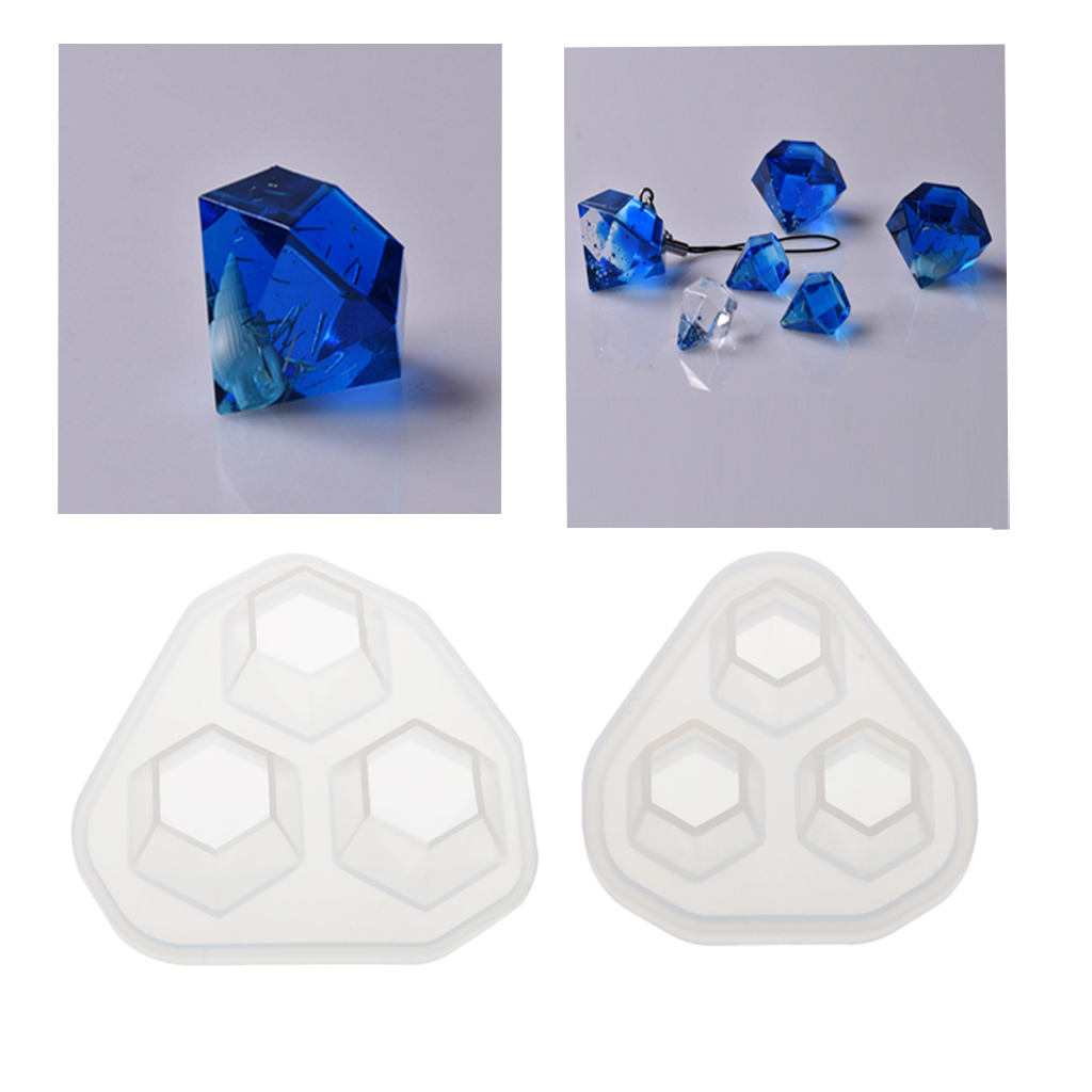 2pcs 2 Size Diamond Shape Crystal Silicone Mould for Resin Casting Jewelry Making